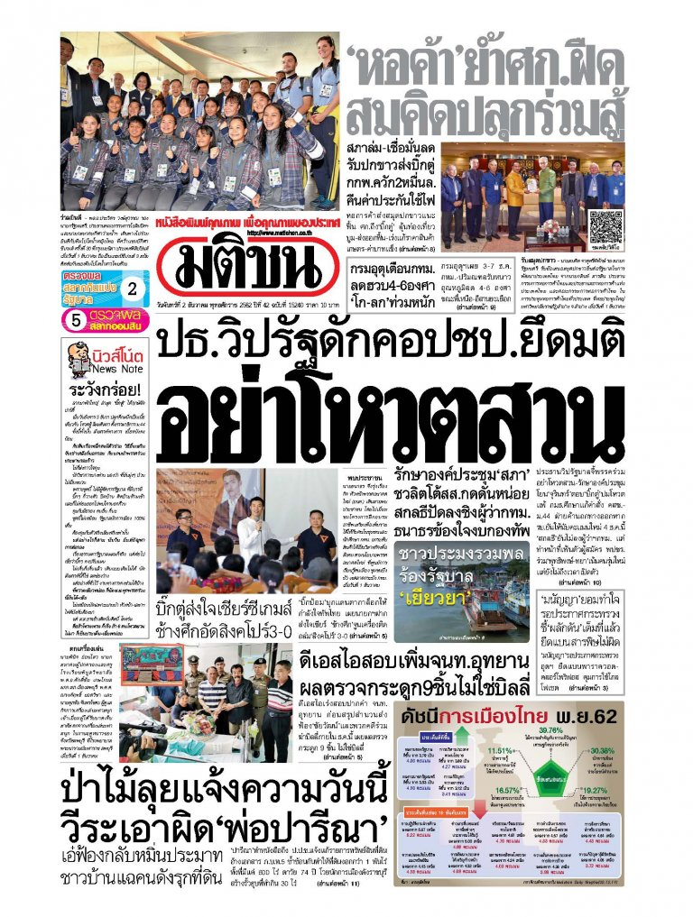 หนังสือพิมพ์มติชน วันจันทร์ที่ 2 ธันวาคม พ.ศ.2562